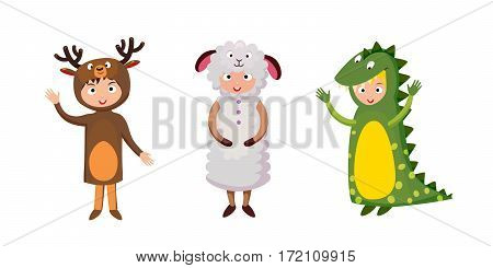 Kids different costumes isolated vector illustration. Dragon crocodile, sheep and deer. Playful character spooky baby superhero. Children party funny clothes.