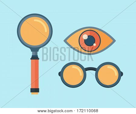 Vector magnifying glass icon. Realistic transparent single exploration scientific focus object. Magnification research optical tool illustration.