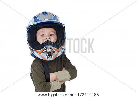 Child with motorcycle helmet looking at camera isolated on a white background