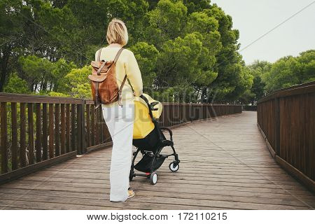 Young mother strolling with newborn in carriage on wooden bridge in green park