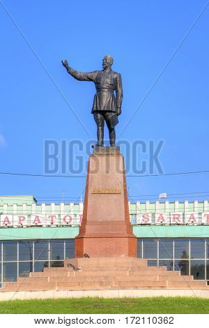 SARATOV RUSSIA - September 09.2016: Monument to the famous Soviet Chekist Felix Dzerzhinsky next to the city railway station