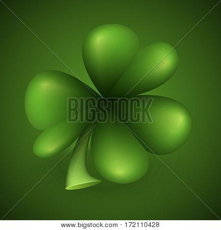 Three leaf green clover leaf on green background. Symbol of St. Patrick day. Vector illustration