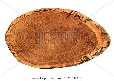 Wood rustic serving tray isolated on white background. Flat lay.