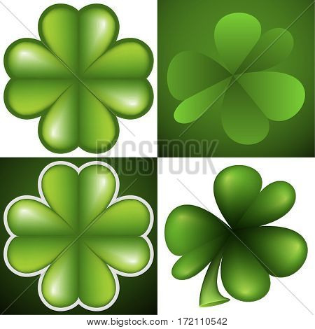 Set of leafs green clover on green and white background. Symbol of St. Patrick day. Vector illustration