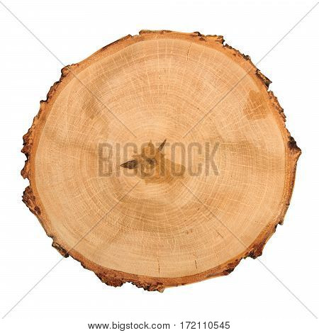 Wooden round cutting board isolated on white background. Above view