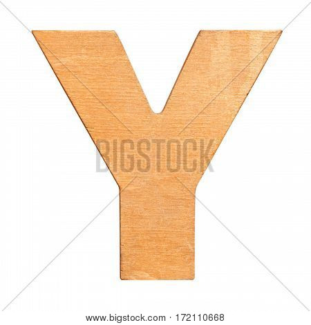 Old wooden letter Y on wooden background. One of full alphabet wooden set