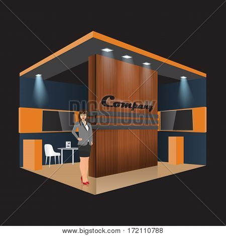 Unique creative wooden exhibition stand display design info board roll up for a furniture company. Vector Display Mock-up and corporate identity. Business lady standing beside.