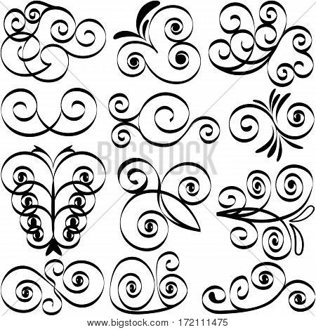 Design element calligraphic pen set EPS8 - vector graphics.
