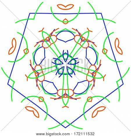 Pentagon ornament design element vector graphics white background
