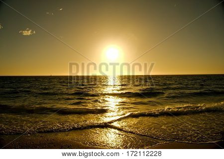 Picturesque sunset on the sea at South Fremantle Beach - Horizontal