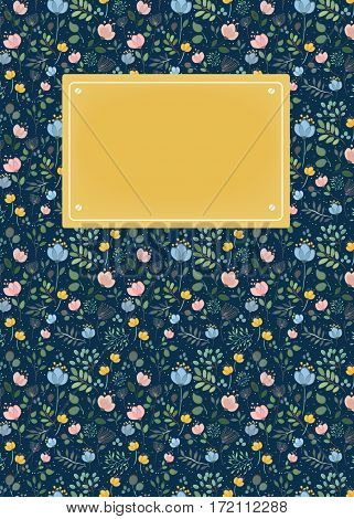 Floral romantic card. Colorful graceful flowers and plants with watercolor effect. Dark blue background. Yellow banner for custom text