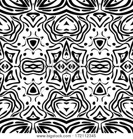 Abstract black and white ornament seamless pattern for background