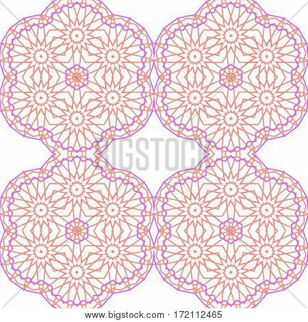 Abstract tracery floral of seamless background white