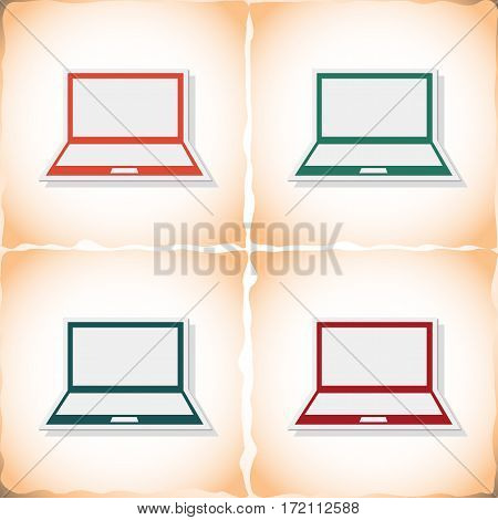 Laptop. Flat sticker with shadow on old paper. Vector illustration