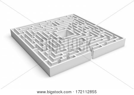 3d rendering of white square maze consruction with an entrance isolated on white background. Concept design. Abstract art