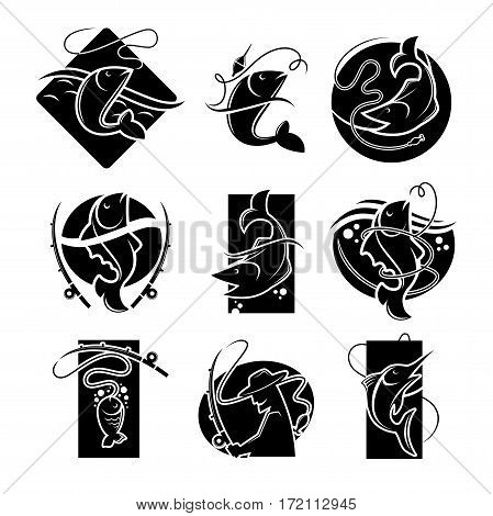 Fishing concept vector colorless poster on white. Set of badges of pike or perch or crucian fish caught on fishing rod and other tackles, man silhouette holding fish-rod and is going to angle