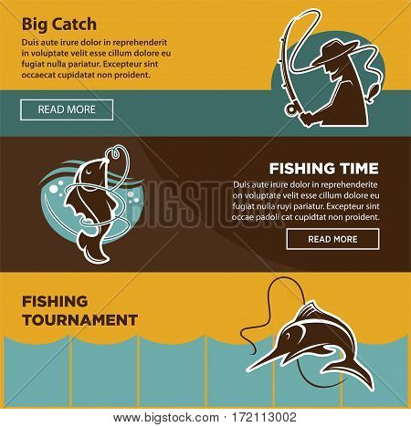 Fishing tournament time for big catch colorful web poster with text information. Vector collection with round emblems of man silhouette with fishing hook and two fish caught on special tackles