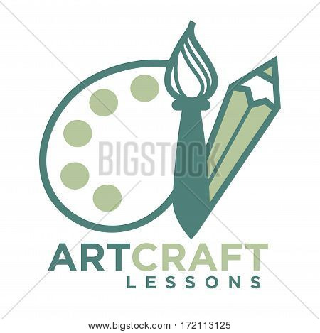 Art craft logo emblem with pencil and brush with paint palette isolated on white. Vector illustration of artcraft inviting badge for studying painting and drawing at artist courses in flat design.