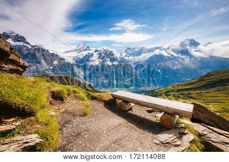 Great view of alpine snowy hills. Picturesque and gorgeous scene. Popular tourist attraction. Location place Swiss alps, Grindelwald valley, Bernese Oberland, Europe. Discover the world of beauty.