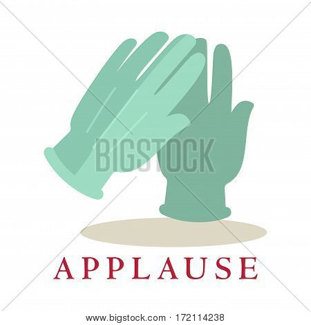 Applause gloves icon silhouette isolated on white background. Bravo logo. Audience approval symbol of clapping hands. Vector illustration of congratulations sign in theatres, cinemas, concert halls