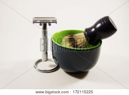 Shaving kit with razor, brush and bowl