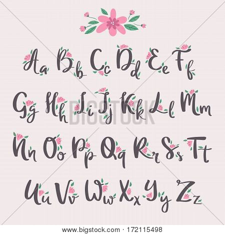 Vector colorful flower font nature colorful summer type and hand drawn alphabet spring beautiful flora set blossom lettering romantic cute design illustration. Romantic cute lettering with plants.