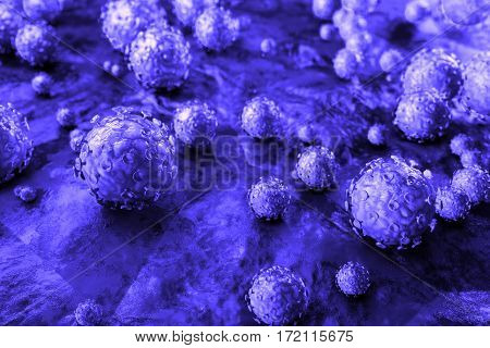 Human papillomavirus (HPV) is a DNA virus from the papillomavirus family that is capable of infecting humans. Some strains infect genitals and can cause cervical cancer. 3D illustration