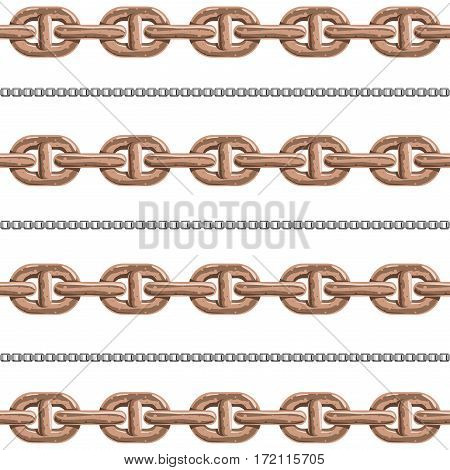 Chains link strength connection vector seamless pattern of metal linked parts and iron equipment protection strong sign shiny design background. Industrial chrome stainless connect group illustration.