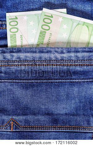 Euro Bills In The Pocket Of Jeans.