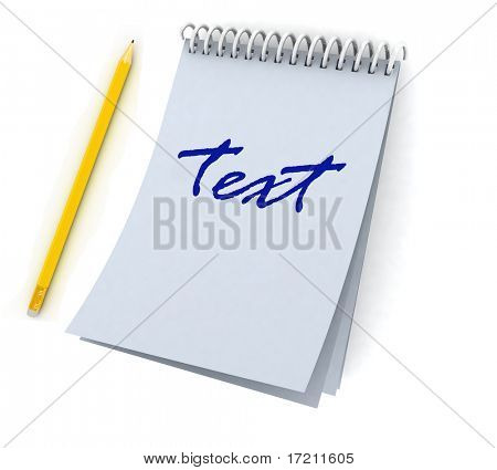 Blank spiral notebook and pencil on a white background
