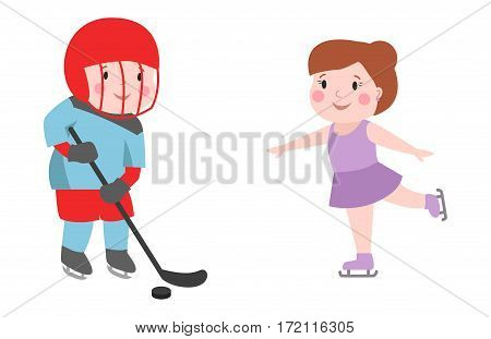 Hockey player boy with stick attitude bandage on face winter sport athlete uniform in helmet equipment and cute pretty girl skating tough confident smiling vector. Child recreation person in mask.