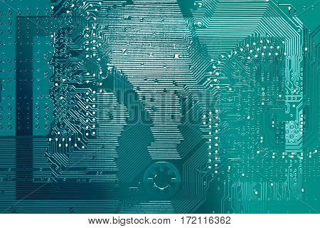 Circuit board frame border. Electronic computer hardware technology. Motherboard digital chip. Tech science background. Integrated communication processor. Information engineering component.