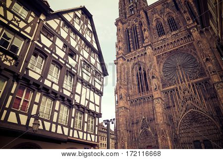 Cathedral in Strasbourg, Alsace, France.