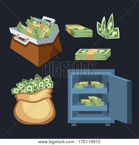 Dollar paper business finance money stack symbols of bundles us banking edition and banknotes bills isolated wealth sign investment currency vector illustration. American commerce concept.