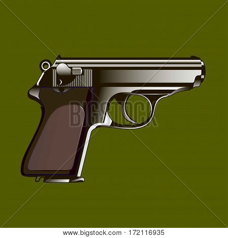 The classical gun on a green background. Vector illustration