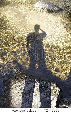 2016 Yosemite, California: Shadow of a man on clear tide pool