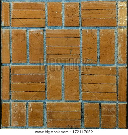 Brick block with mortar wall pattern background.