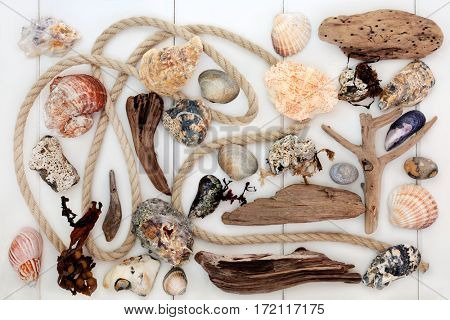 Beach art abstract design with driftwood, seashells, rocks, rope and seaweed on white wood background.