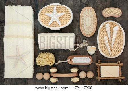 Spa massage and natural body scrub exfoliating cleansing products with shells