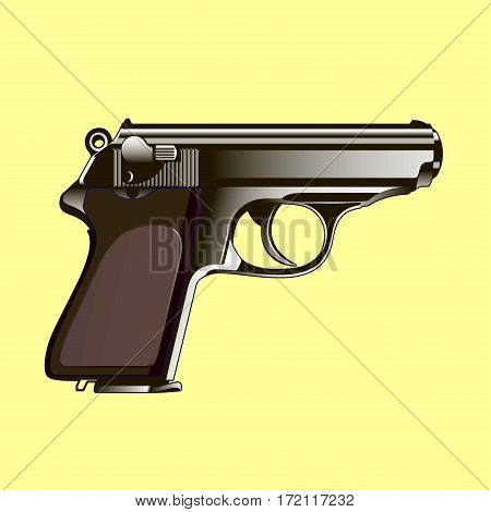 The classical gun on a yellow background. Vector illustration