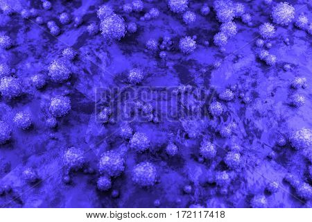 3d Abstract spherical virus on the surface of skin, mucous membrane or intestine. Realistic image of microbe, microorganism