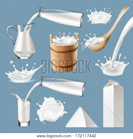 Set of 3D vector milk splash and pouring, icons traditional packaging for milk and milk products. Realistic style