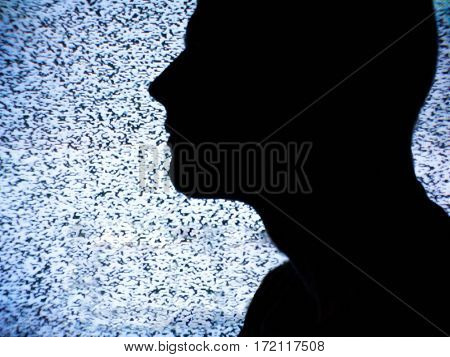 Man In Front Of Television With No Signal