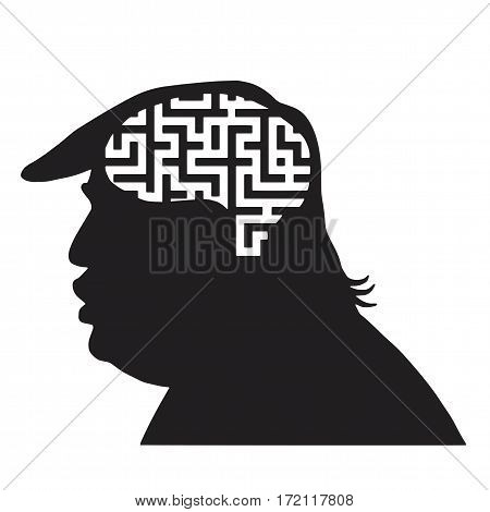 Donald Trump Silhouette and Maze Icon. Vector Illustration. New York, February 19, 2017