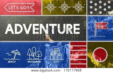 Adventure Beach Woodland City Icons