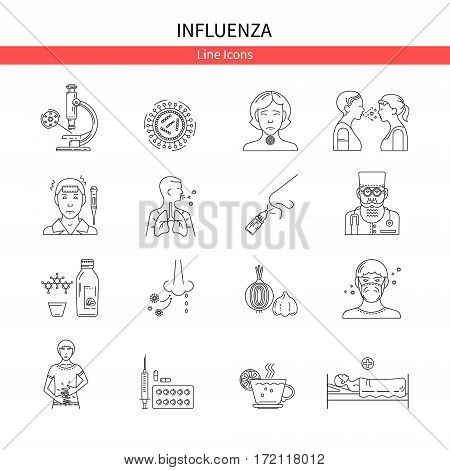 Flu Prevention linear set of icons. For the design of websites, banners, posters, brochures and other printed materials.
