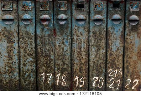 old rusty mailbox texture with numbers, grunge texture. dirt rust