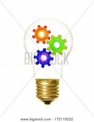 a light bulb with cogs inside on a white background