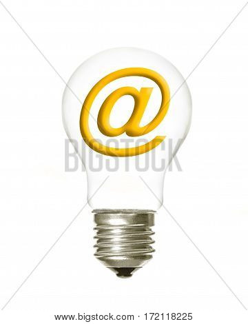 a light bulb with the email symbol inside on a white background