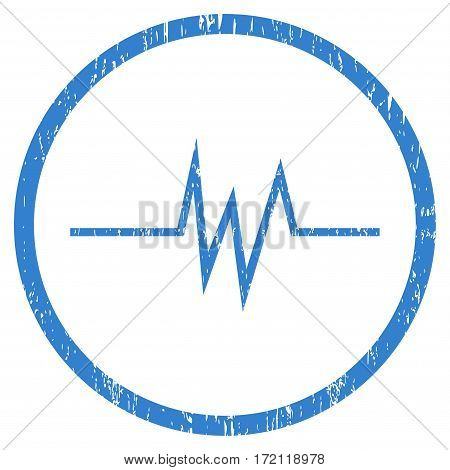 Pulse Signal grainy textured icon for overlay watermark stamps. Rounded flat vector symbol with scratched texture. Circled cobalt ink rubber seal stamp with grunge design on a white background.